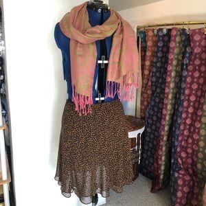 Leopard skirt sheer Express medium EUC & Pashmina